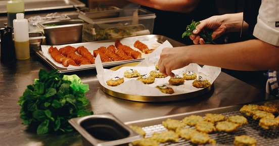 Preparing canapes in the kitchen at Hero
