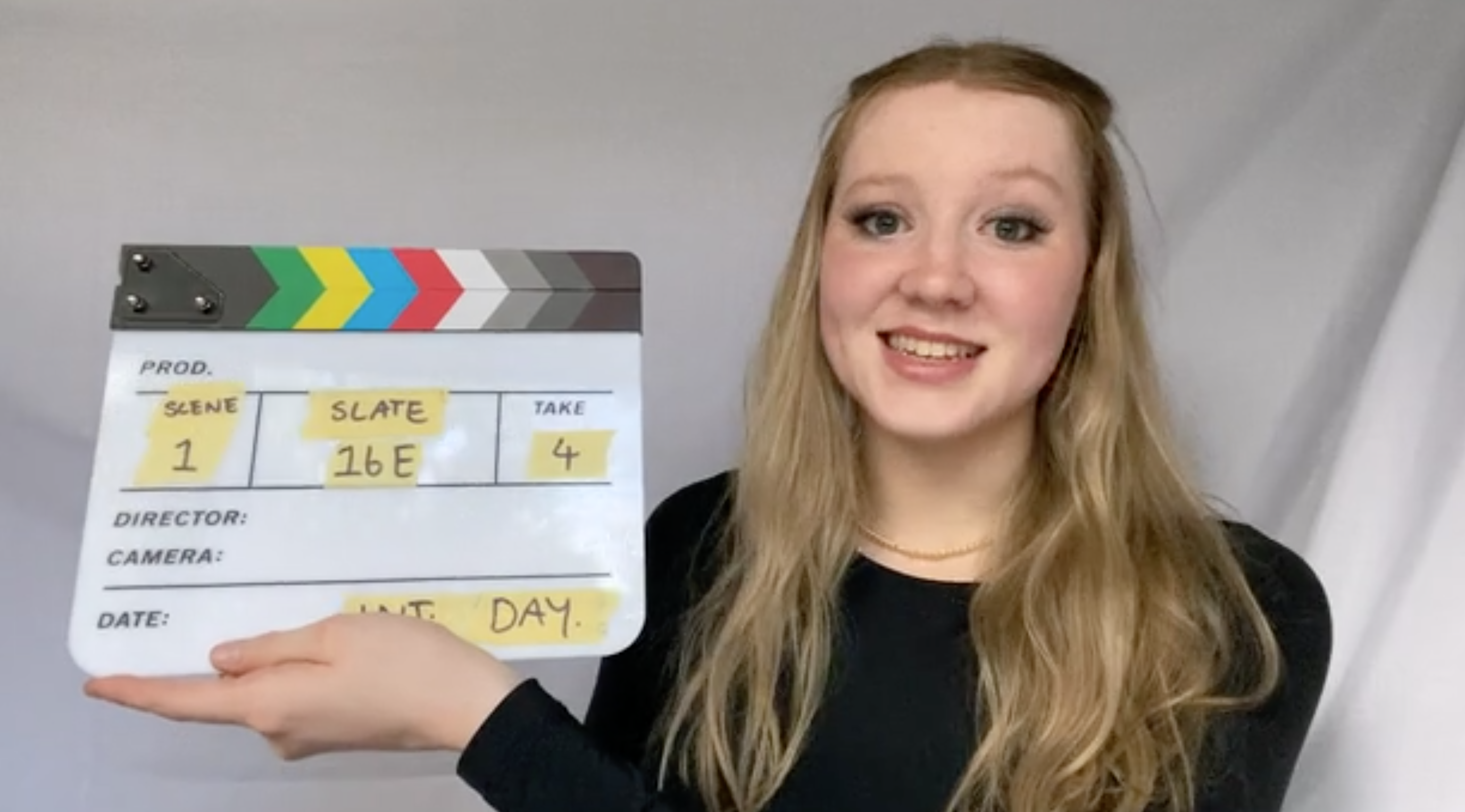 Jessica Robson in a still from her short film 'The Clapperboard: a Melbourne invention'