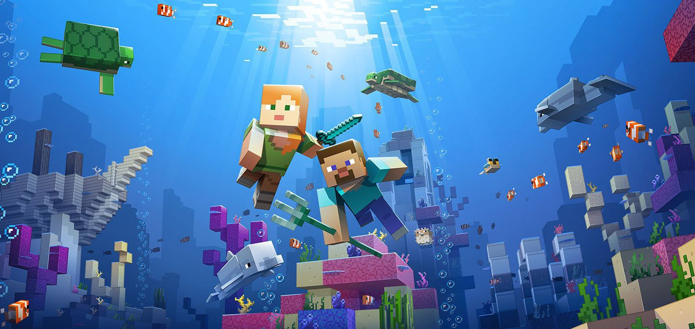Screenshot from Minecraft (2011) of characters underwater