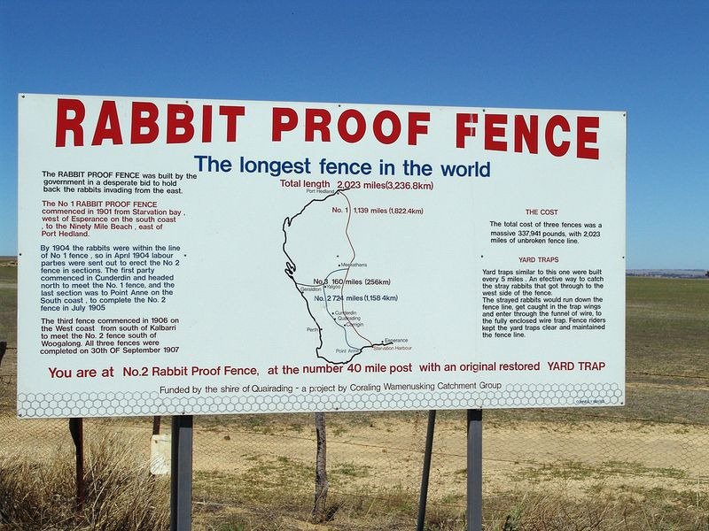 Setting rabbit proof fence sign
