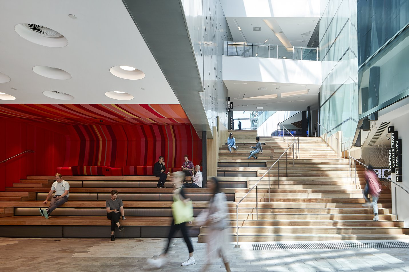 ACMI entrance with staircase and lounge area