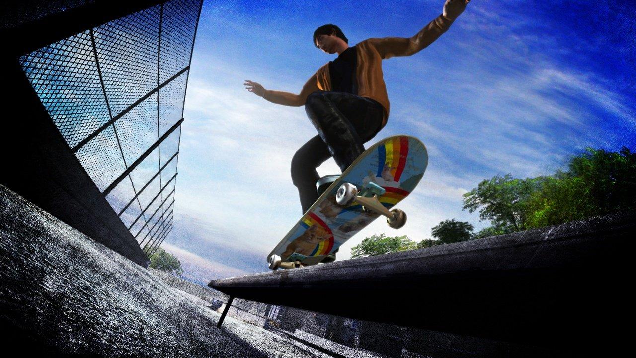 Skate (2007) - screenshot - young man skating, rainbow skateboard