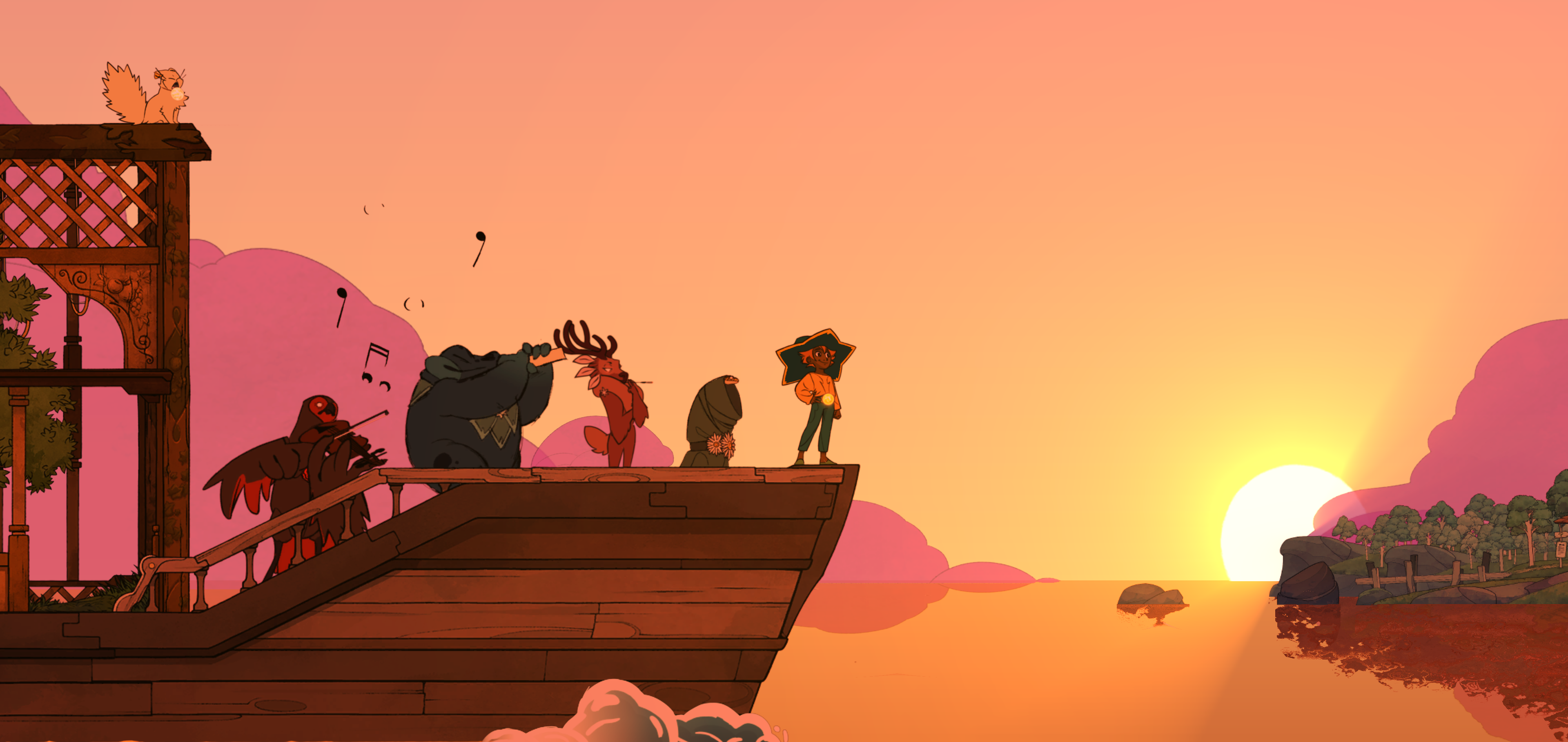 Stella on the boat at sunset with her crew who are playing musical instruments in a screenshot from Spiritfarer (2020)