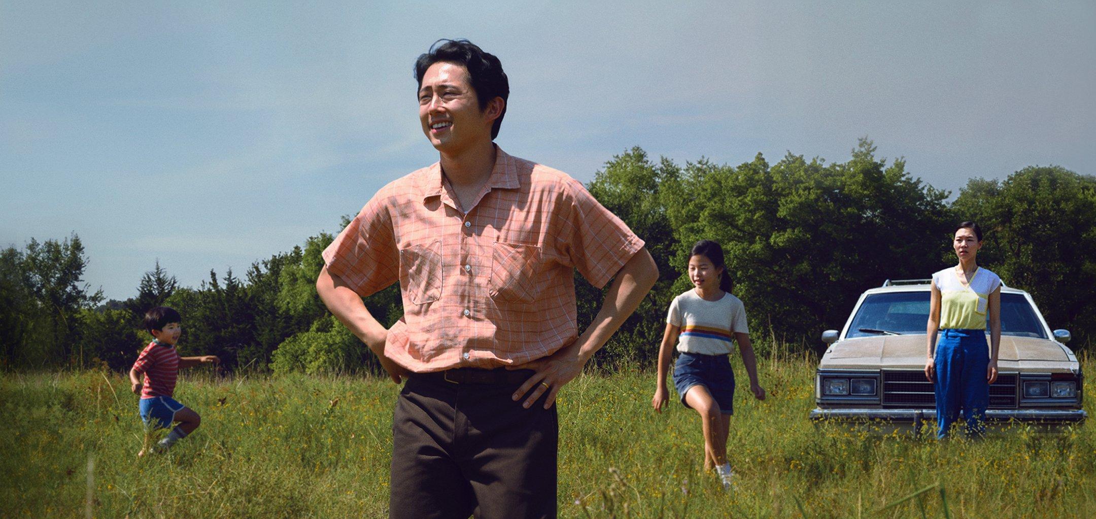 Steven Yeun as Jacob and the family in 'Minari' (2020)