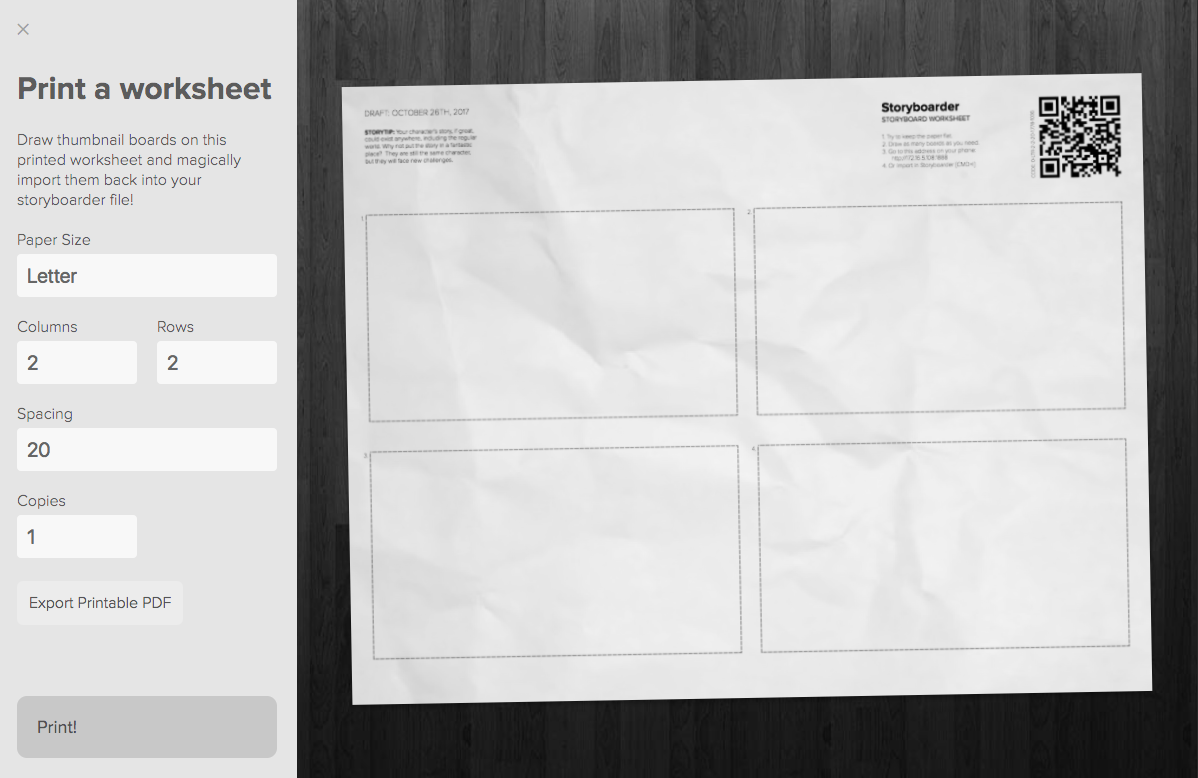 Storyboarder worksheet example
