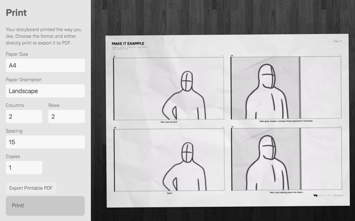 Storyboarder print PDF