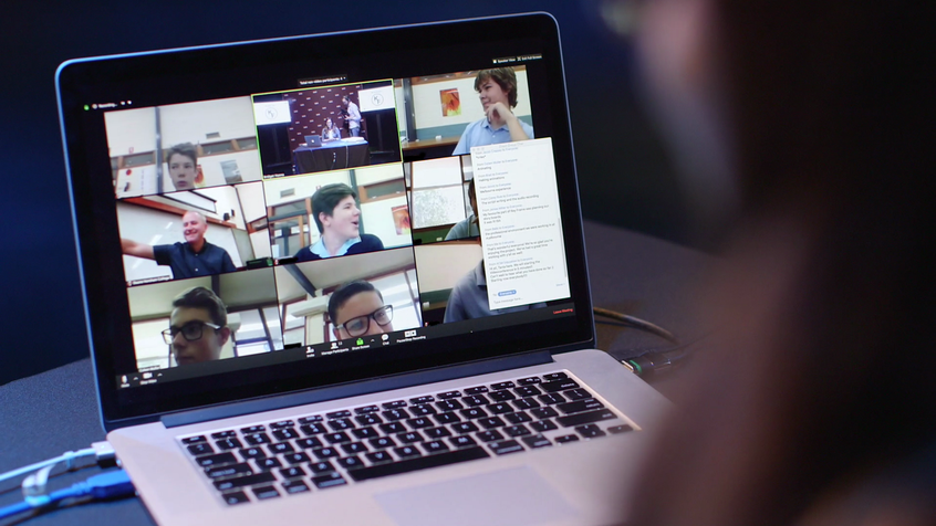 Students on a videoconference