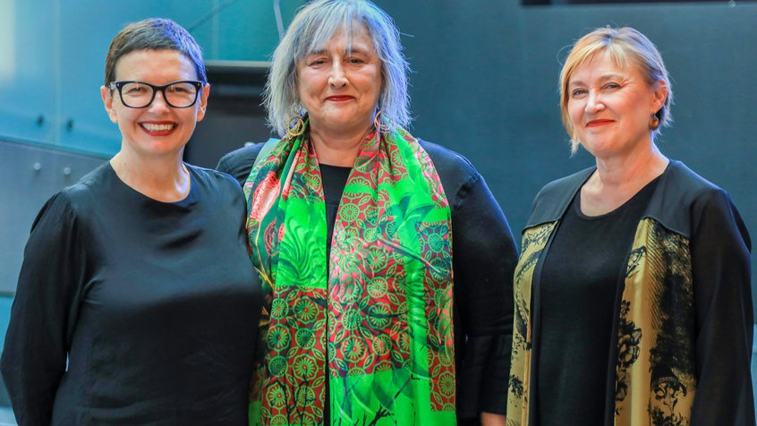 Katrina Sedgwick, Kim Vincs and Angela Ndalianis - Swinburne space launch