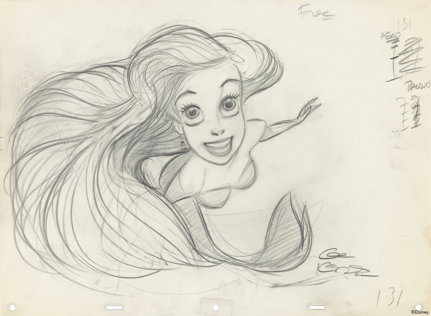 The Little Mermaid (1989) Glen Keane, Rough animation drawing, Graphite on paper.jpg