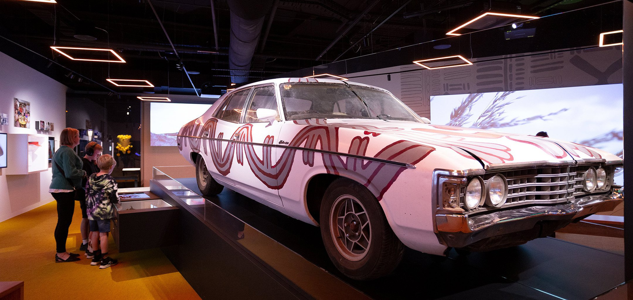 The Bush Mechanics car placed at the centre of the Moving Australia section of The Story of the Moving Image