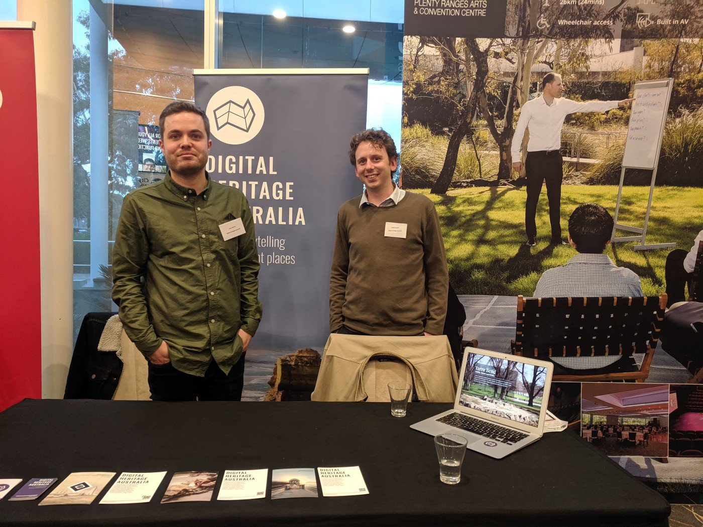 The DHA team at the Victorian Heritage Council Forum in 2019. Jake Smith (left) and Kieran Davis (right)
