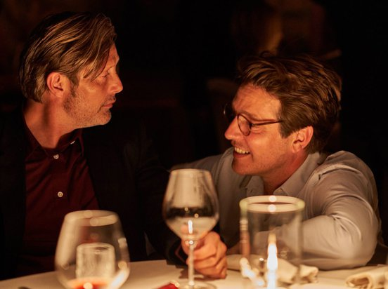 Thomas Vinterberg and Mads Mikkelsen on the set of Another Round