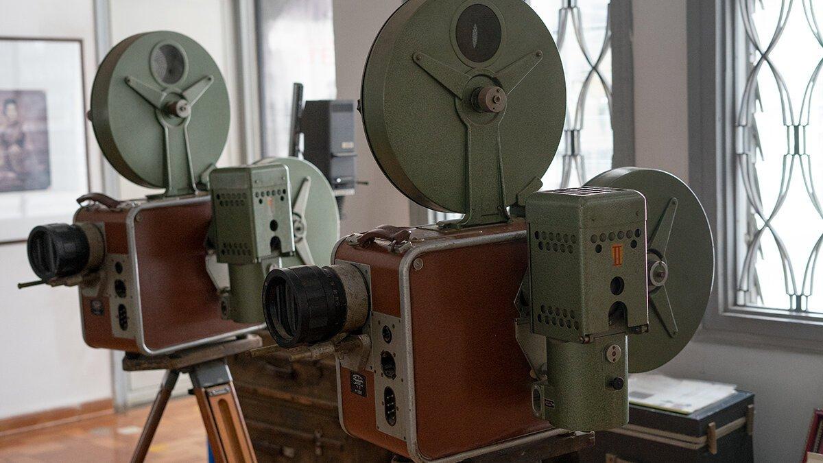 Vintage projectors on display at Bophana