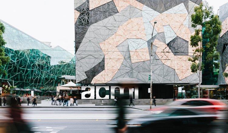 ACMI Fed Square exterior with new logo