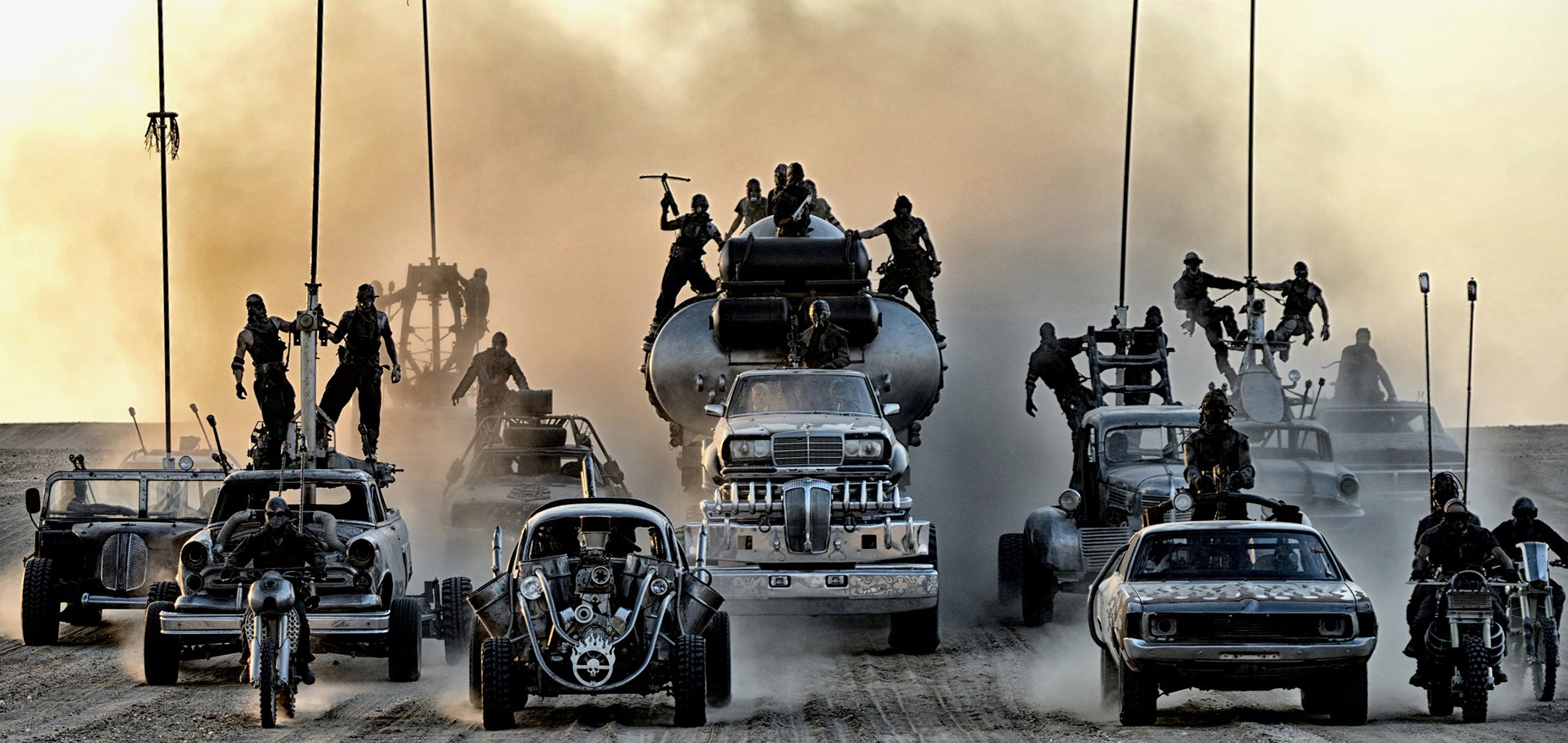 Some of the post-apocalyptic cars featured in Mad Max Fury Road (2015)