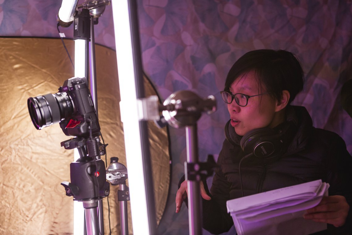 Director Grace Feng Fang Juan on the set of Girl, Interpreted (photograph by Rhys Sherring)