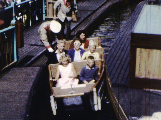 A family rides the rollercoaster - a still from Fred's Films (Luna Park)
