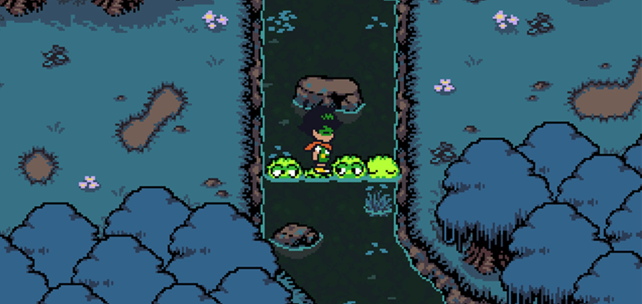 Protagonist crossing a river - screenshot from Spiritwell (TBC) david Chen
