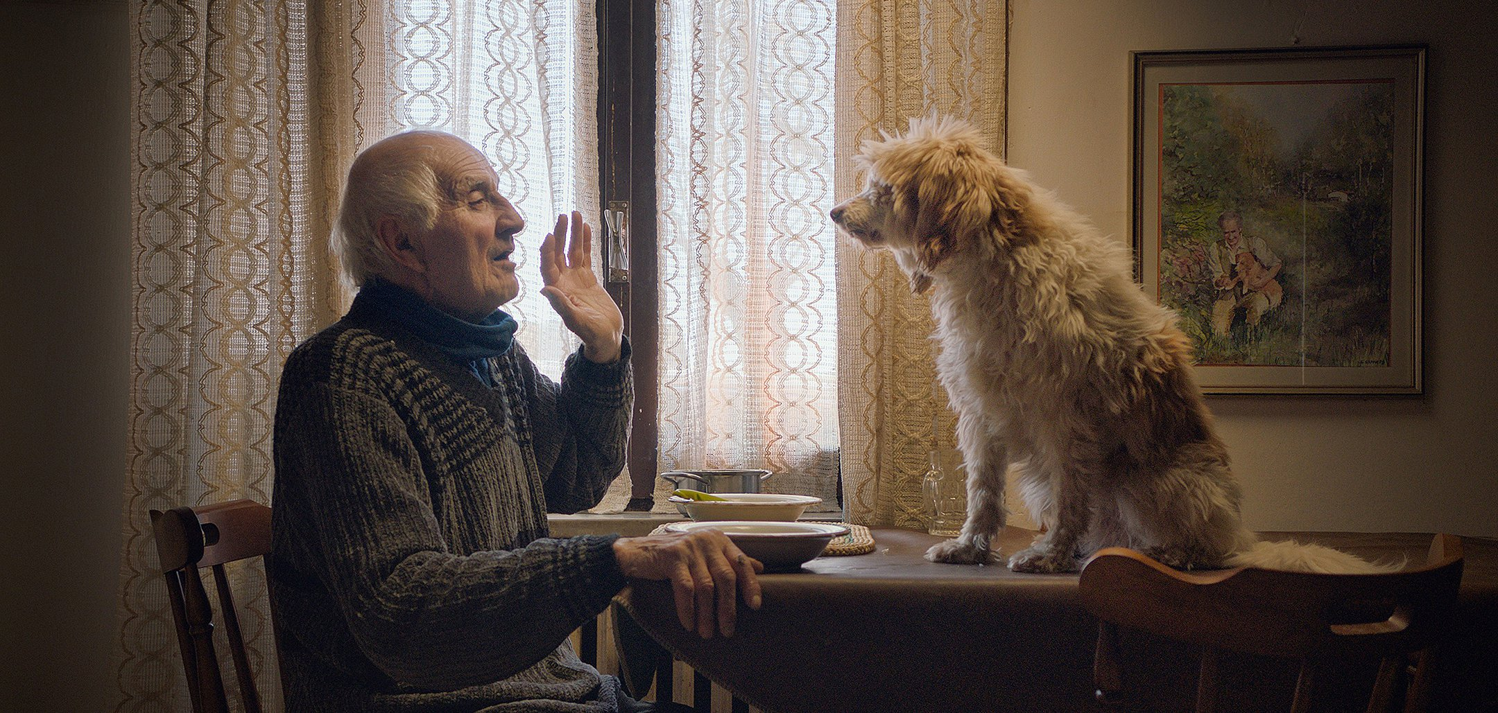 An elderly man gesticulating to a dog sitting on his kitchen table in a still from 'The Truffle Hunters' (2020)